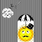 смешные абстрактной иллюстрацией солнце и облако — Стоковое фото