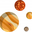 Stock Photo: Rocky planets - Jupiter, Venus, Mars, Pluto