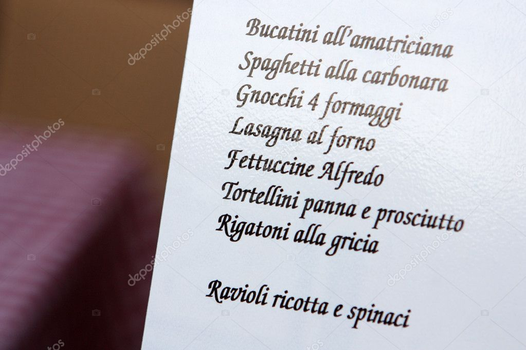 Menu is proposed in a centrical trattoria of Roma on a attractive display. — Stock Photo #8072474