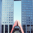 Stock Photo: Paris - La Defense - View of building and pedestrian bridge