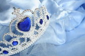 False tiara with diamonds and blue gem — Стоковое фото