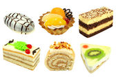 Set of 6 cakes isolated — Stock Photo