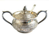 Isolated oxidized silver sugar bowl — Stock Photo