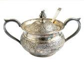 Isolated oxidized silver sugar bowl — Stock Photo