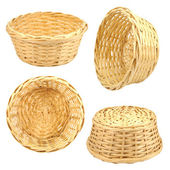 Isolated round woven straw basket — Stock Photo