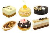 Set of 6 cakes isolated — Stock Photo