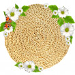 Woven round hand made background isolated with flower — Stock Photo