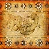 ドラゴン東洋ビンテージ背景 — ストック写真