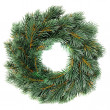 Green round Christmas wreath isolated on white background — Stock Photo