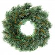 Stock Photo: Green round Christmas wreath isolated on white background
