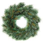 Grön rund christmas krans isolerad på vit bakgrund — Stockfoto