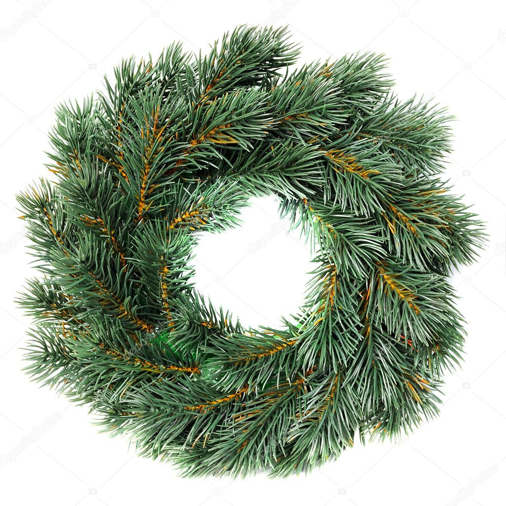 Green round Christmas wreath isolated on white background  Stock Photo #9579940