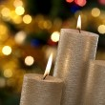 Christmas candles and lights — Stock Photo