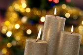 Christmas candles and lights — Stock Photo