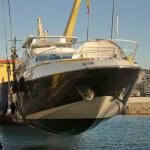Yacht transport at port — Stock Photo #8901556