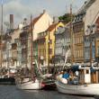 Nyhavn new pear Copenhagen Denmark — Stock Photo