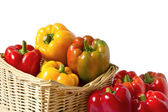 Colorful peppers in the basket — Stock Photo