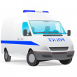 Police van isolated on white — Stock Vector