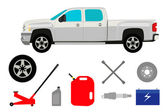Pick-up truck with group of repair shop elements — Stockvector