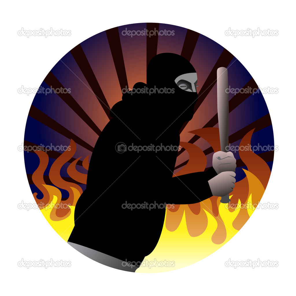 Illustration of a riot participant in black hoodie wearing mask. Fire flames and rays of light in the background. — Stock Vector #8891734