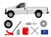 Pick-up truck with group of repair shop elements — Stock Photo