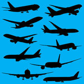 Airplanes silhouettes — Stock Photo