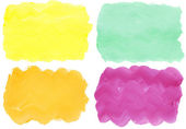 Colorful watercolor hand painted brush strokes are isolated on a white background. — Stock Photo