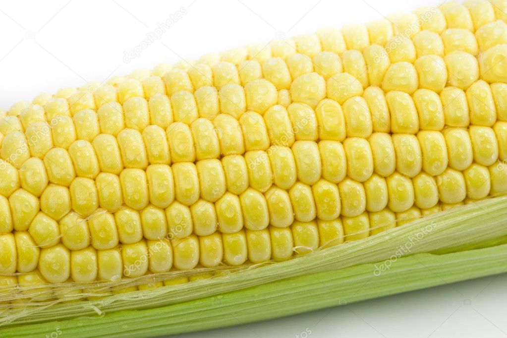 Fresh corn with green leaves — Stock Photo #10056672