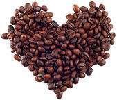 Caffee beans heart — Stock Photo
