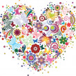 Heart of flowers and butterflies — Imagen vectorial