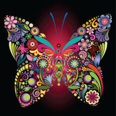 Fiori e farfalle — Vettoriale Stock