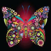 Flores y mariposas — Vector de stock