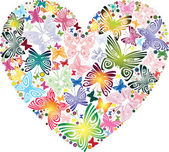 Heart of the butterflies — Stock Vector
