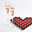 Candle Heart and Champagne — Stock Photo