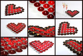 Collage of Candle Hearts — Stock Photo