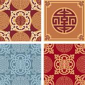 Set of Oriental Seamless Patterns — Stock Vector