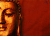 Buddha Face with Red Background — Photo