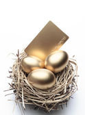 Golden Eggs in the Nest with Credit Card - Finance Concept — Stock Photo