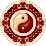 Oriental Chinese Pattern - Yin Yang Rosette — Stock Vector #8917507