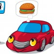 Royalty-Free Stock Vector Image: Cartoon Car Dreaming of Burger next to Fuel Station Sign
