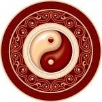 Oriental Chinese Pattern - Yin Yang Rosette — Stock Vector #8917880