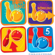 Set of Bowling Icons - Banner, Sign, Emblem — Stock Vector
