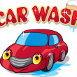 Cartoon Car with Car Wash Sign - Stock Vector
