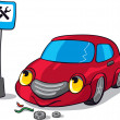 Royalty-Free Stock Vector Image: Cartoon Broken Car next to Auto Service Road Sign
