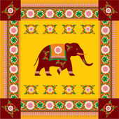 Vector Indian (Hindu) Elephant with Traditional Pattern Border — Stock Vector
