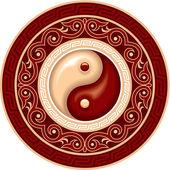 Oriental Chinese Pattern - Yin Yang Rosette — Stock Vector