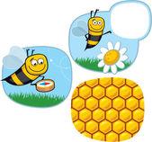 Cartoon Happy Honeybee with Bubble and Compass — Stock Vector