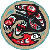 熊抓三文鱼-美洲原住民风格矢量 — 图库矢量图片