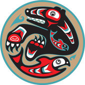 Bear Catching Salmon - Native American Style Vector — Vector de stock