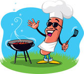 Cool hot-dog avec barbecue grill — Vecteur
